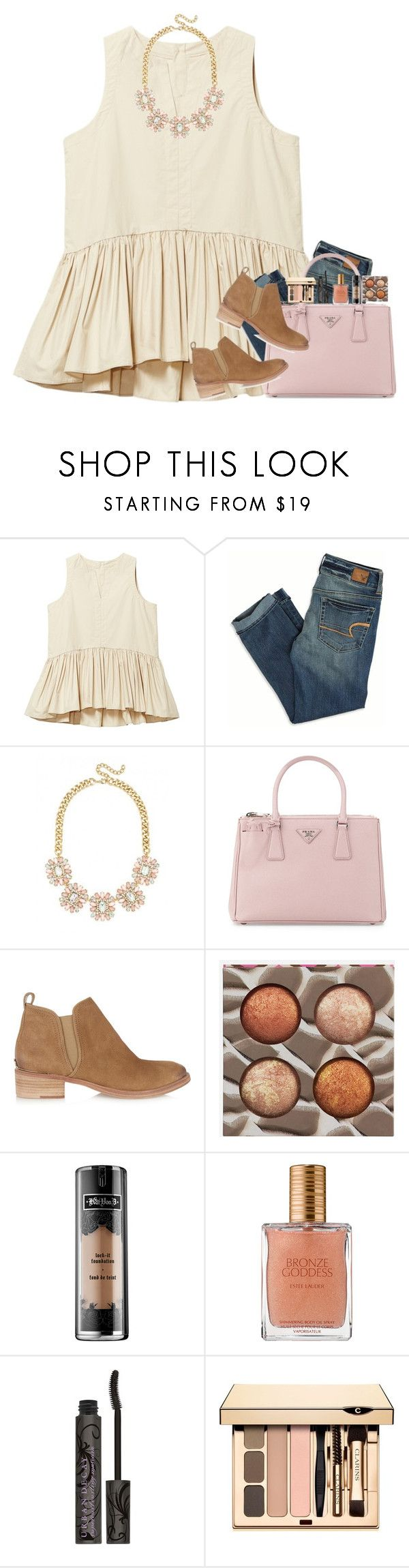 """giving me a million reasons"" by mehanahan ❤ liked on Polyvore featuring American Eagle Outfitters, Prada, Tory Burch, BHCosmetics, Kat Von D, Estée Lauder, Urban Decay and Clarins"