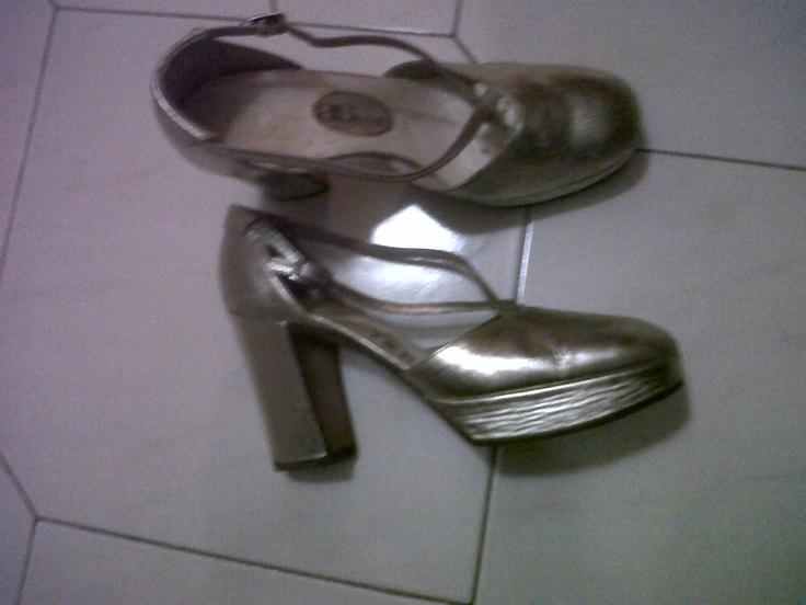 Golden sandals with platform