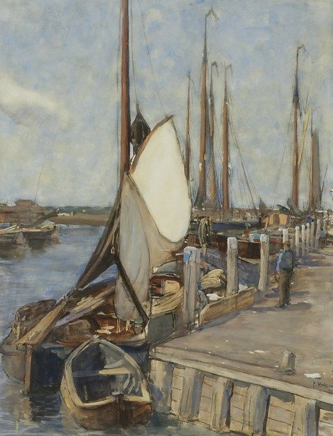 Pieter Florentius Nicolaas Jacobus 'Floris' Arntzenius (1864-1925) The harbour of Elburg with moored fishing boats, watercolour on paper. Collection Simonis & Buunk, The Netherlands.