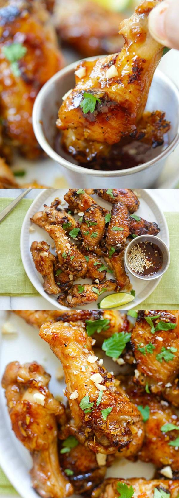 Sticky Asian Chicken Wings – amazing chicken wings coated with savory, sweet and sticky honey garlic chili glaze. BEST Asian chicken wings recipe ever   rasamalaysia.com
