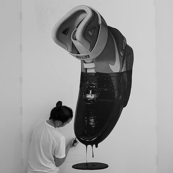 Half Dipped Nike Air Mags Drawn by CJ Hendry - The Cool Hunter