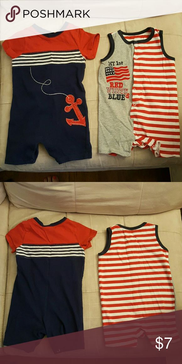 Boys 6-9 months summer rompers Red, white, and blue one piece summer rompers. The piece with the anchor is First Impressions brand and snaps in the crotch. The piece with the flag is Kola Kids brand and snaps 3/4 of the way down the front and in the crotch. One Pieces