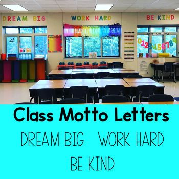Class Motto Letters - Dream Big, Work Hard, Be Kind by Teaching In Full Bloom