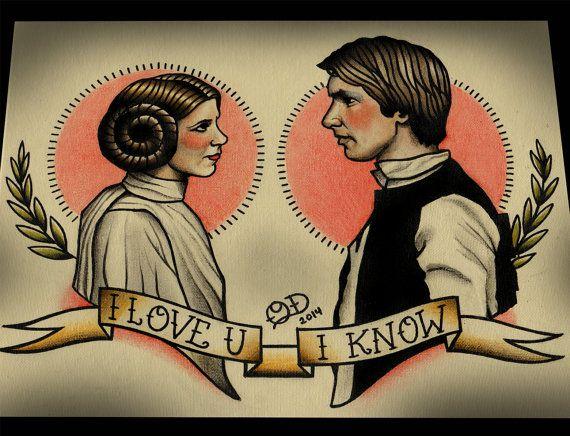 La princesa Leia y Han Solo Star Wars Tattoo Art Print