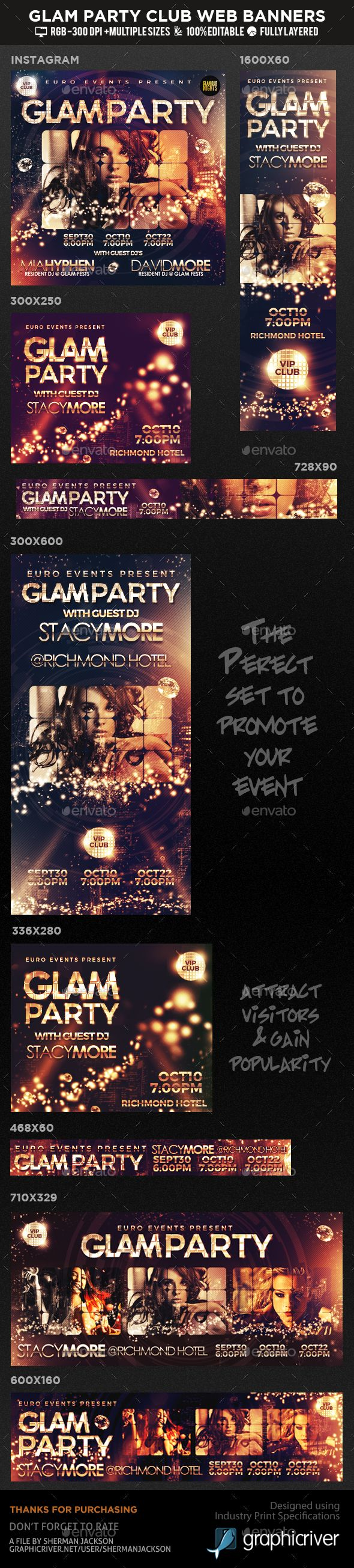 Glam Party & Club Event Social Web Banners Template PSD