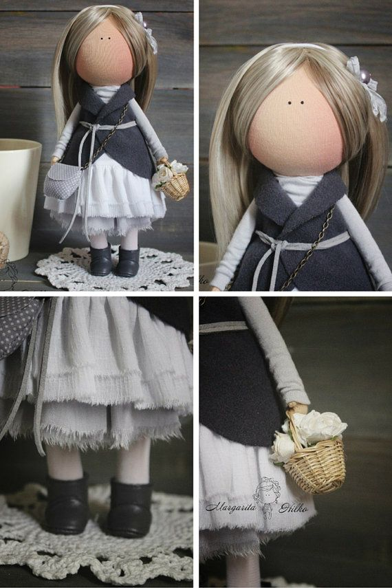 Art doll handmade dark grey blonde by AnnKirillartPlace on Etsy