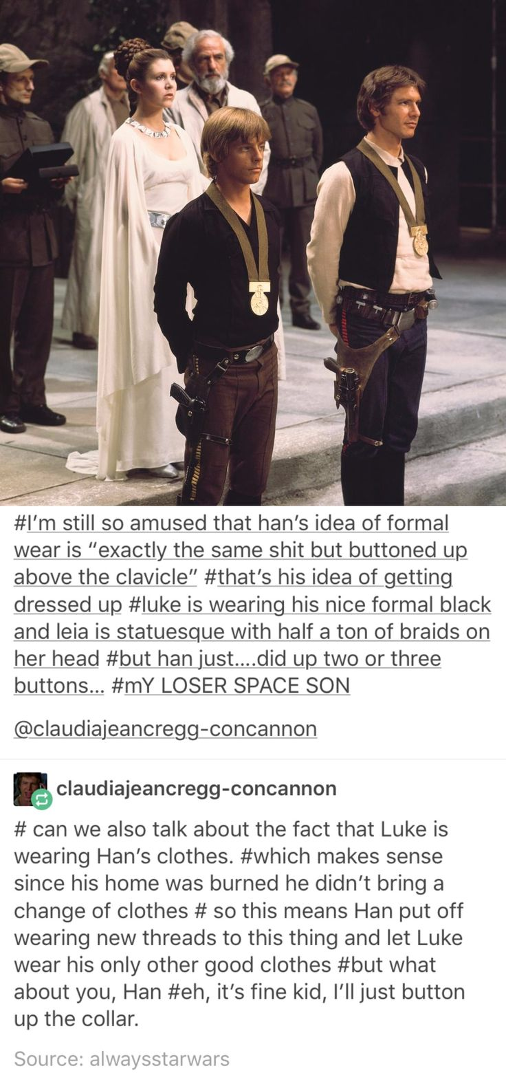 aw, I never thought of it at this angle before. it makes me even more sad that luke won't be able to see han again since he died on the starkiller base. :(