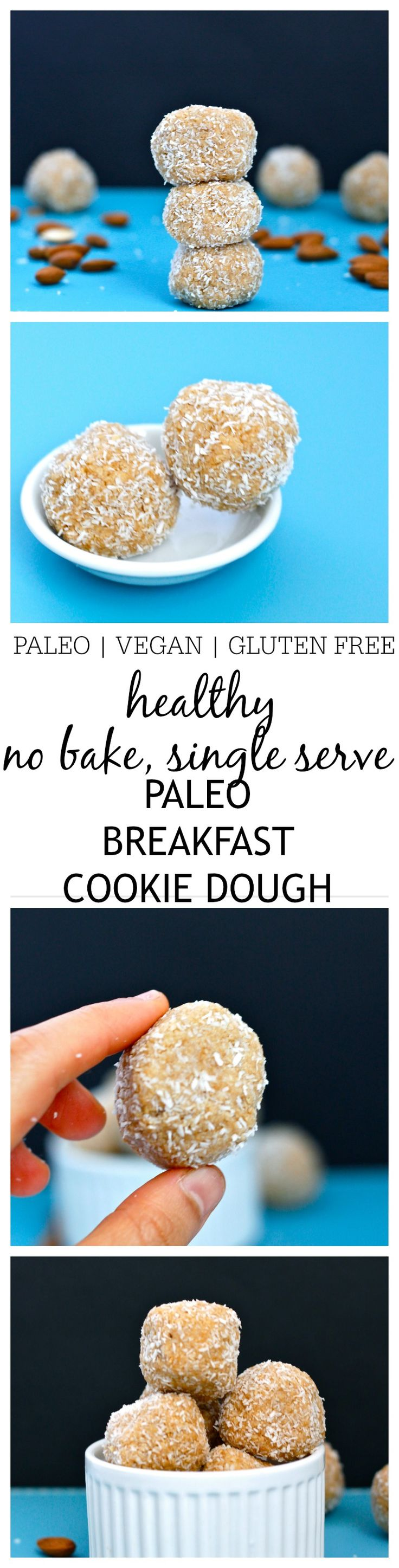 {No Bake} Paleo Breakfast Cookie Dough- This delicious, no bake paleo breakfast cookie dough is perfect for a grab and go breakfast and ready in 5 minutes!