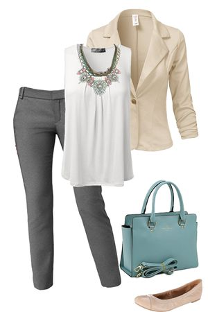 Want to look cute at work without breaking the bank? Visit outfitsforlife.com for info on where to buy each item at a steal and for even more outfit inspo!  #outfitsforlife #ofl #businesscasual #spring #workoutfits #outfitsforwork