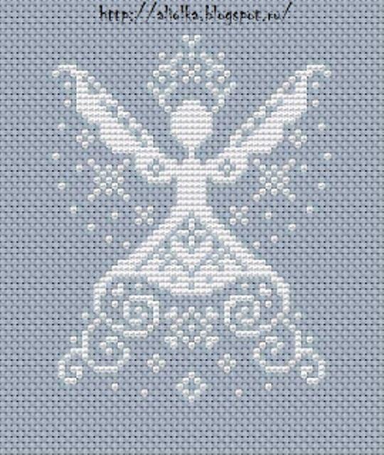 Gallery.ru / Zdjęcie nr 73 - New Year cross stitch angel monochrome