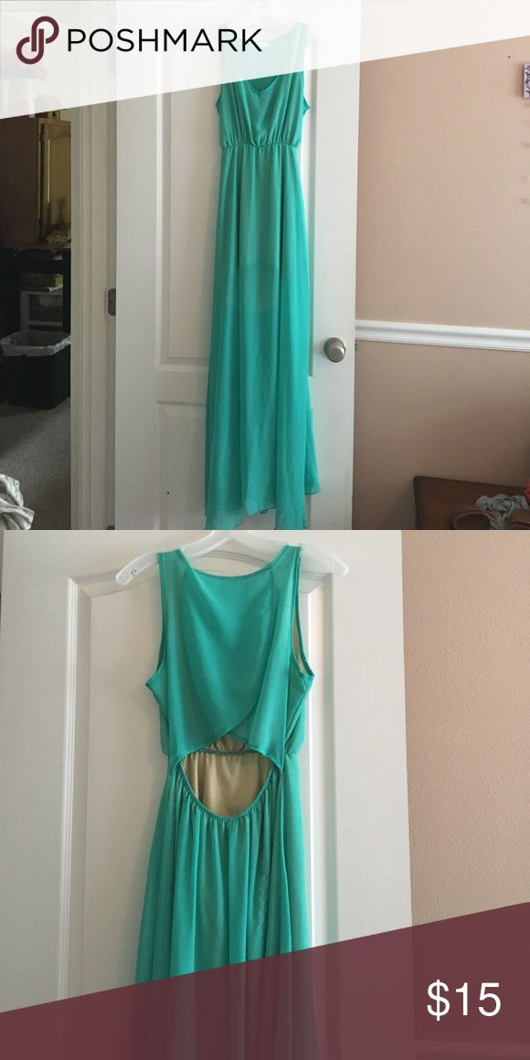 Turquoise maxi dress Turquoise maxi dress with nude squirt built in underneath. Only worn once and in great condition. Lower back is open. Dresses Maxi