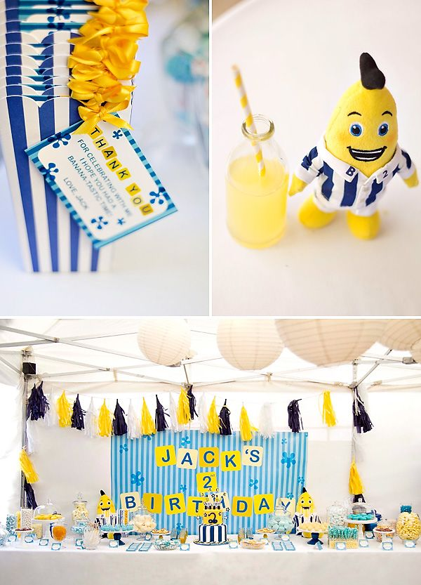 Amazing Bananas in Pajamas Party with balloon sculpture centerpieces, yellow and blue cake pops, giant marshmallows, blue & white stripe pajamas & more!