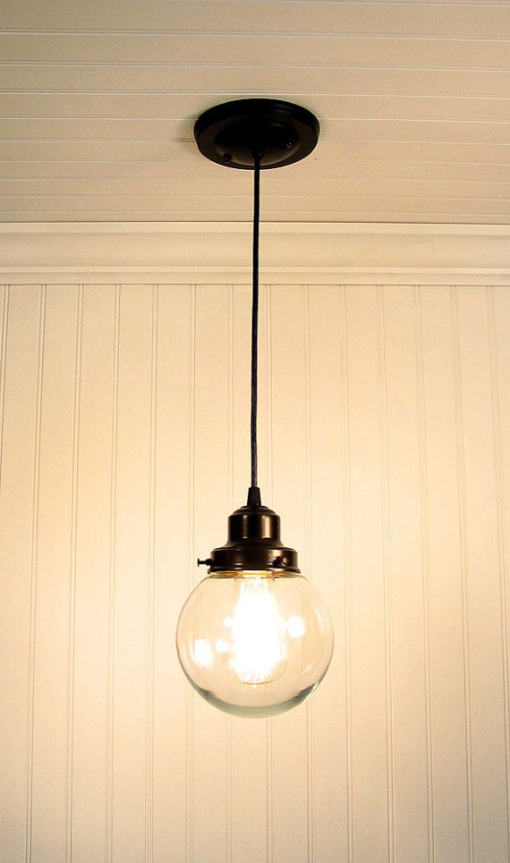 Kitchen over sink - Biddeford II Clear Globe PENDANT Light by LampGoods on Etsy, $59.00