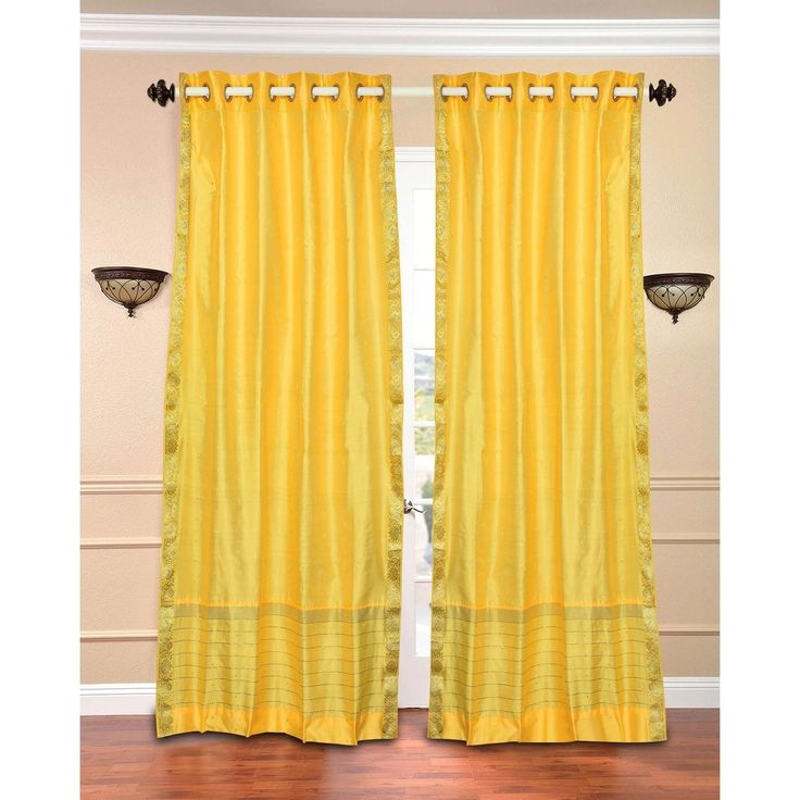 Indian Selections Yellow Ring Top Sheer Sari Curtain / Drape / Panel - Piece (120 Inches - matching lining 60 x 120 inches (152 x 304 cms)), Size matching lining 60 x 120 inches 152 x 304 cms (Polyester, Solid)