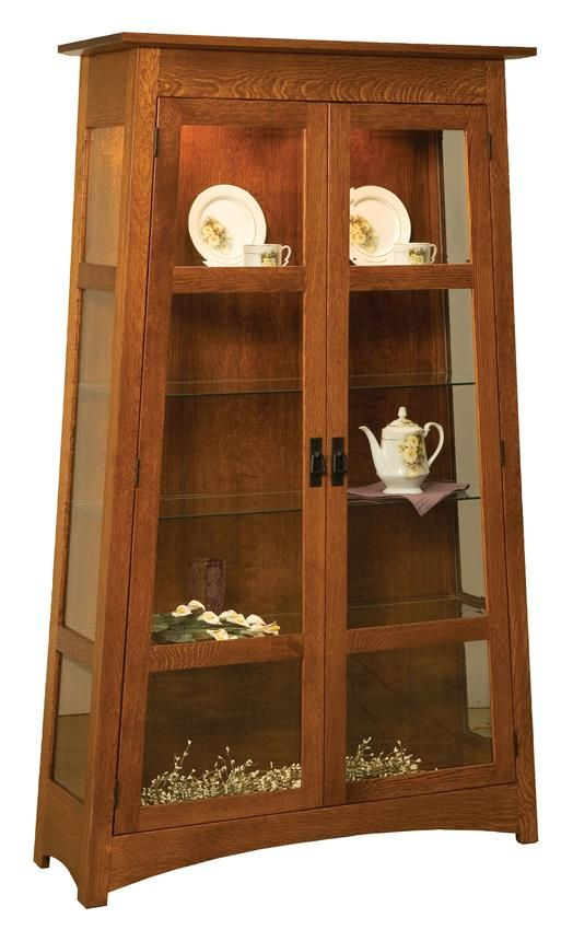 Amish Atwood Curio  Amish Furniture Hutch Collection  This stylish Amish Atwood Curio is the perfect display cabinet to showcase your fine china, antiques, awards and other memorabilia. This stunning piece was made in the USA and is here to give your items a beautiful showcase.