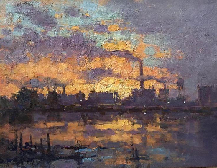 Jim McVicker, Pulp Mill Sunset' 12x16