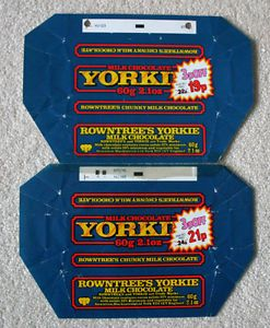 Rowntree's Yorkie bar #80s  21p for 60g - those were the days!