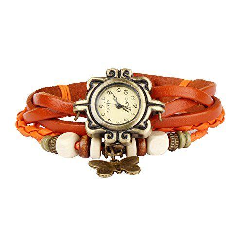 Bohemian Style Retro Handmade Leather [Butterfly Wrist Watch] Beautiful Fashionable Luxury & Stylish Weave Around [Wrap Watch Bracelet] For Women Ladies Girls. 8 Different Colors- Orange