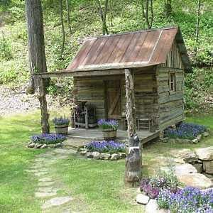 tiny cabin, garden shed, outbuilding..? stone path, upcycled/salvaged wood and tin, porch, purple flowers