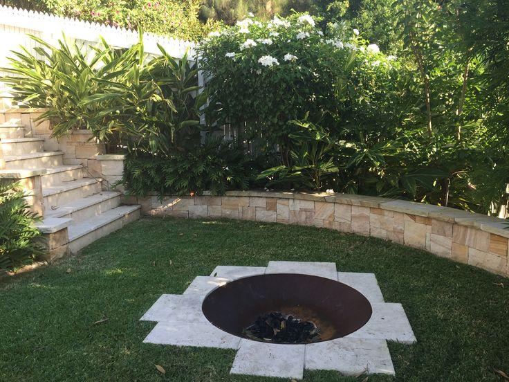 Towoong Garden designed by My Verandah - Seating/sandstone/ Queenslander/Lawn/fire pit/ Frangipani pudica/ gingers