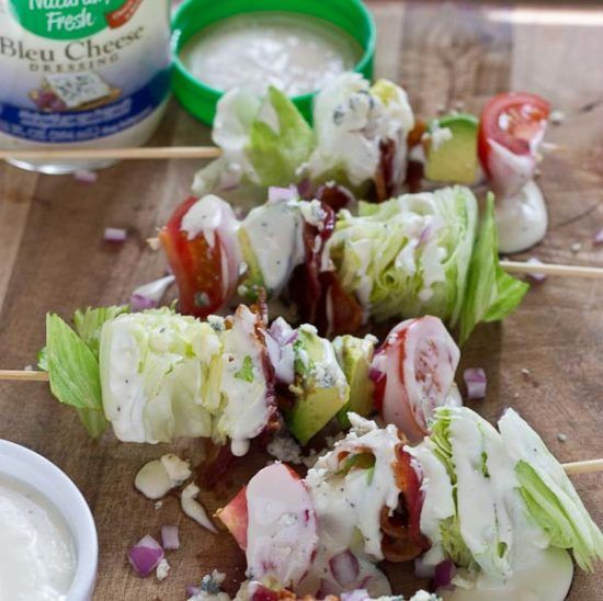 Wedge Salad Skewers…. Iceberg lettuce, crispy bacon, avocado, tomatoes, and blue cheese dressing on a stick. YUM!! This appetizer is perfect at a cookout or anytime you're serving a crowd. Thank you to Naturally Fresh® Brand for sponsoring this post. It's Monday and who's ready for the long weekend already? I'm so pumped July 4th …