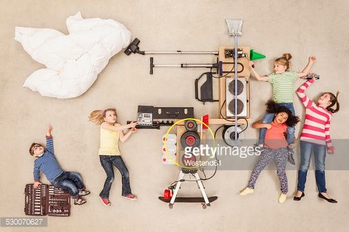 Stock Photo : Children experimenting with new weather machine