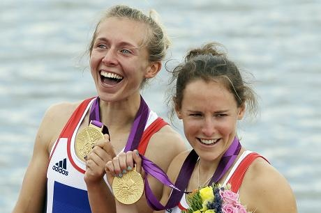 Katherine Copeland and Sophie Hosking jubilant Gold Medal winners.  Double sculls. Congratulations