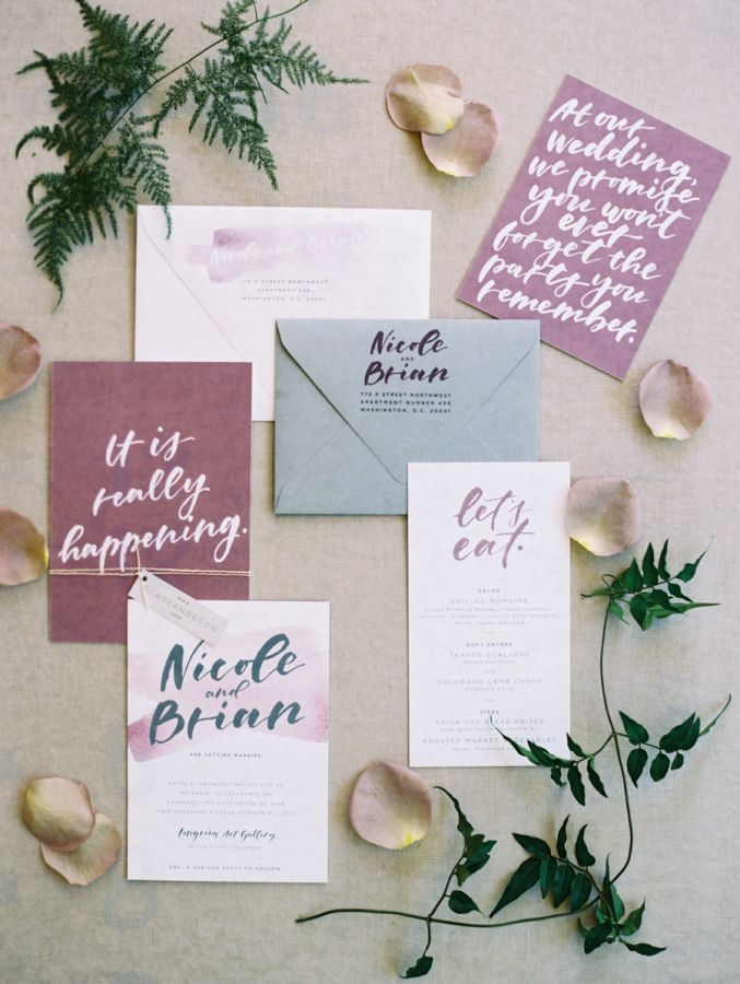 Purple and taupe wedding invitation paper suite: http://www.stylemepretty.com/2016/11/15/industrial-chic-modern-dc-wedding/ Photography: Abby Jiu - http://www.abbyjiu.com/