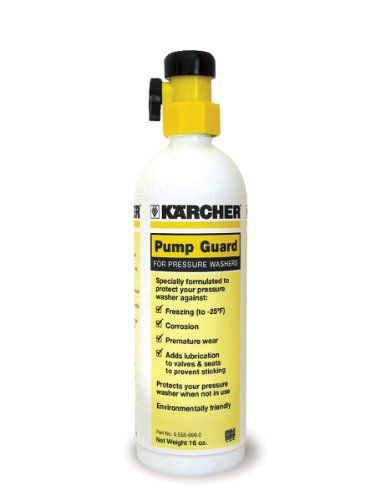 Karcher 9.558-998.0 Gas and Electric Pressure Washer's Pump Guard (16oz). Protects from corrosion and premature wear. Adds lubrication to your pressure washer-feets valves and seals to prevent sticking. Guards against freezing down to -25 degrees Fahrenheit. Prolongs the life of your electric or gasoline pressure washer. Karcher's Pump Guard is specifically formulated to prolong the life of your Karcher pressure washer. It also adds lubrication to your Karcher pressure washer's...