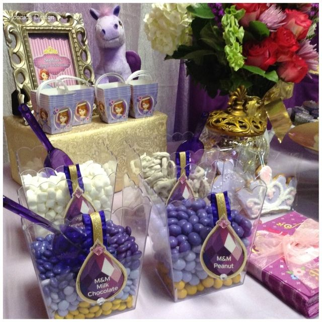 Themed candies at a Sofia the first Birthday Party! See more party ideas at CatchMyParty.com!