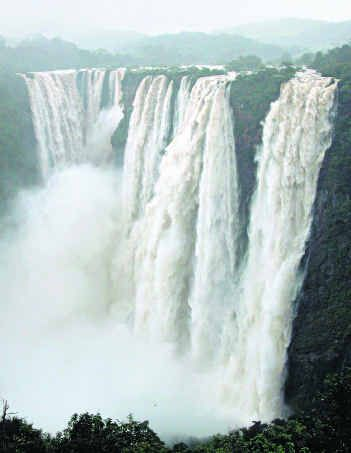 Jog Falls falling from a height of 830 feet.It is the highest untiered waterfall in India