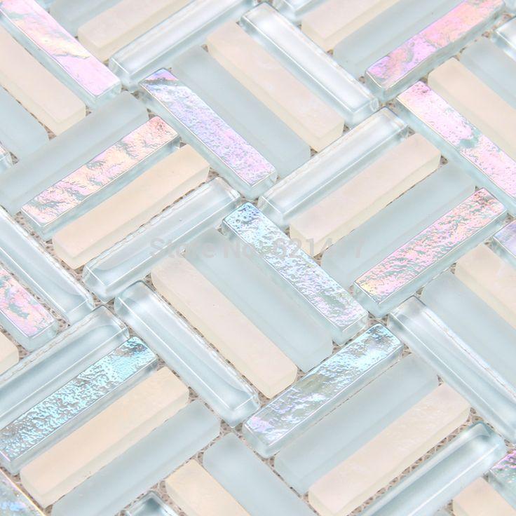 Aliexpress.com : Acquista Bianco opaco misto di cristallo blu striscia di vetro mosaico piastrelle cucina mosaico backsplash bagno doccia piscina tessere di mosaico da Fornitori mosaic tile glue affidabili su HOMER MOSAIC