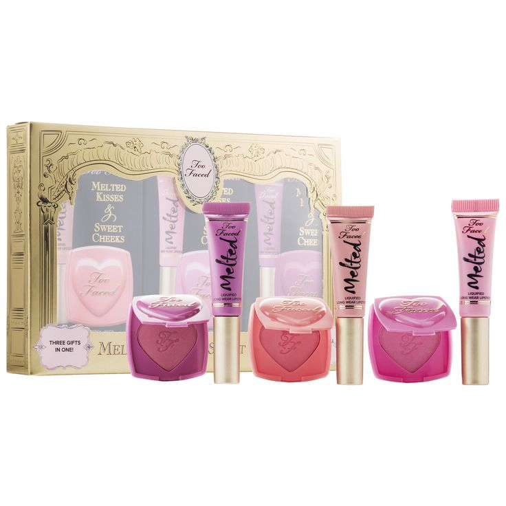 Shop Too Faced's Melted Kisses and Sweet Cheeks at Sephora. It features three deluxe sizes of Melted Lipsticks and three coordinating Love Flush Blushes.