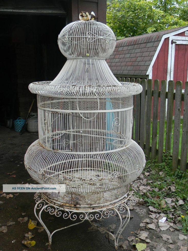 vintage wrought iron bird cage   Antique Victorian Iron Bird Cage Over 5 Ft Tall Metalware photo