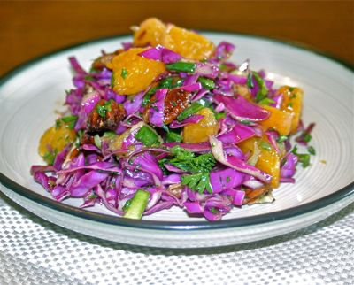 Healthy Polish Recipe: Red Cabbage Salad with Pecans and Orange Slices.  Polish Food recipe from www.polskafoods.com