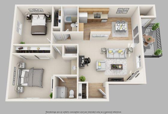 Plan maison 3D du0027appartement 2 pièces en 60 exemples Soothing