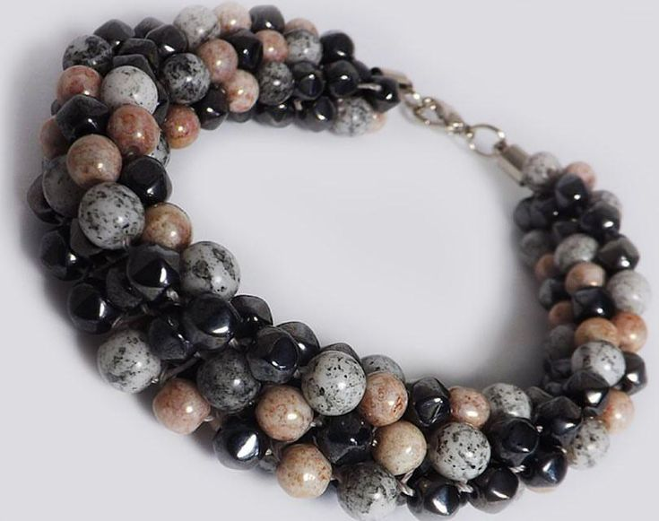 Chunky Choker Glass Bead Necklace - Kumihimo Necklace