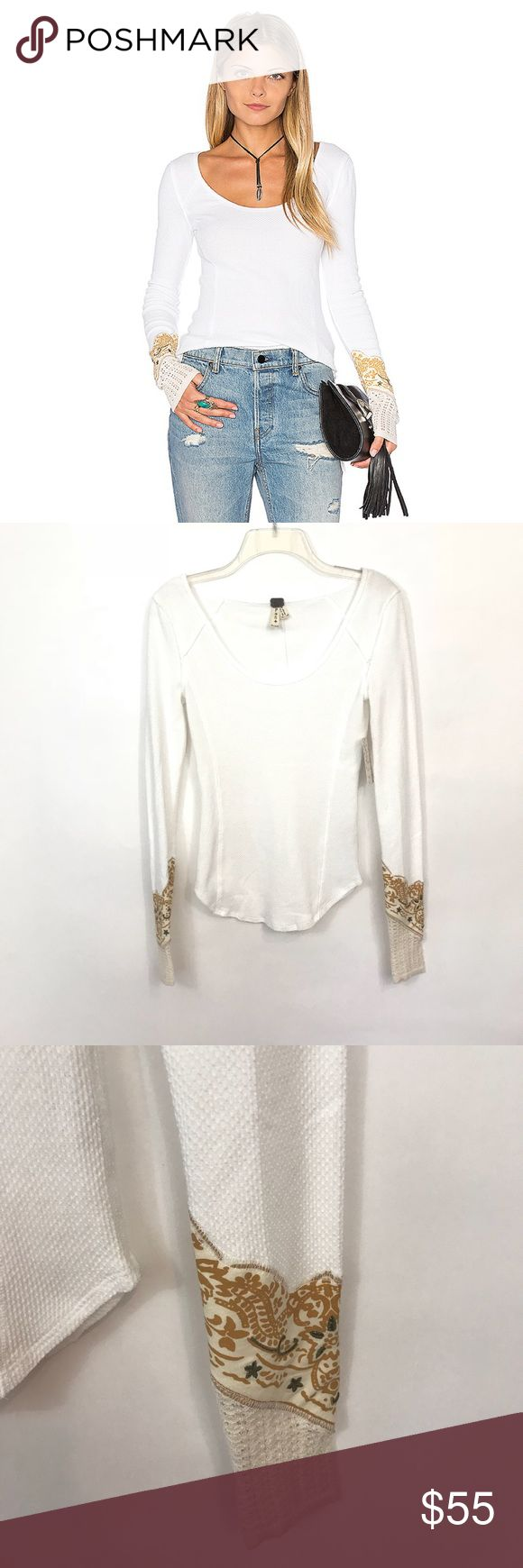 "FREE PEOPLE | Bandana Cuff White Thermal Top Free People bandana cuff thermal top. White long sleeve.   Condition: new with tags Measurements (laying flat): 15"" pit to pit 24"" length  Item location: bin 62 Free People Tops"
