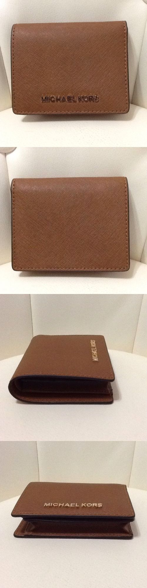 Women Accessories: Michael Kors Jet Set Flap Card Holder Wallet Luggage Leather Womens Nwt BUY IT NOW ONLY: $59.97