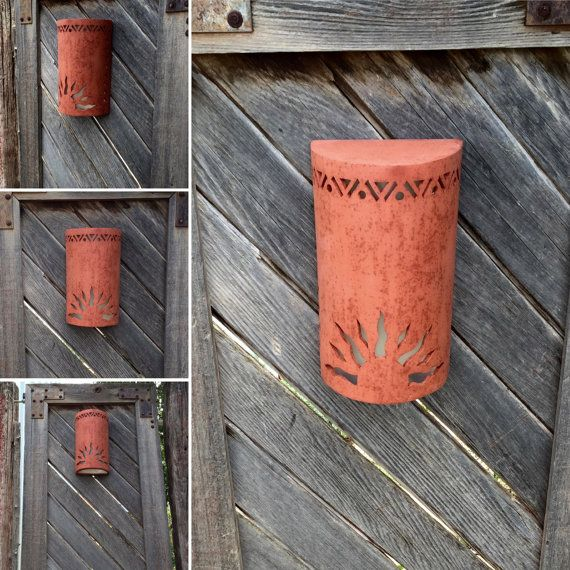 Outdoor wall sconce, half sun and detail cutouts, handmade in the USA, Southwestern sconces, Porch Light, Dark sky lighting, Patio Lighting