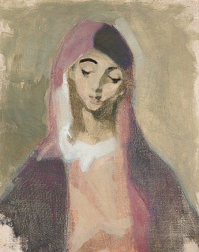 "HELENE SCHJERFBECK, ""Madonna de la Charité"". 1941"