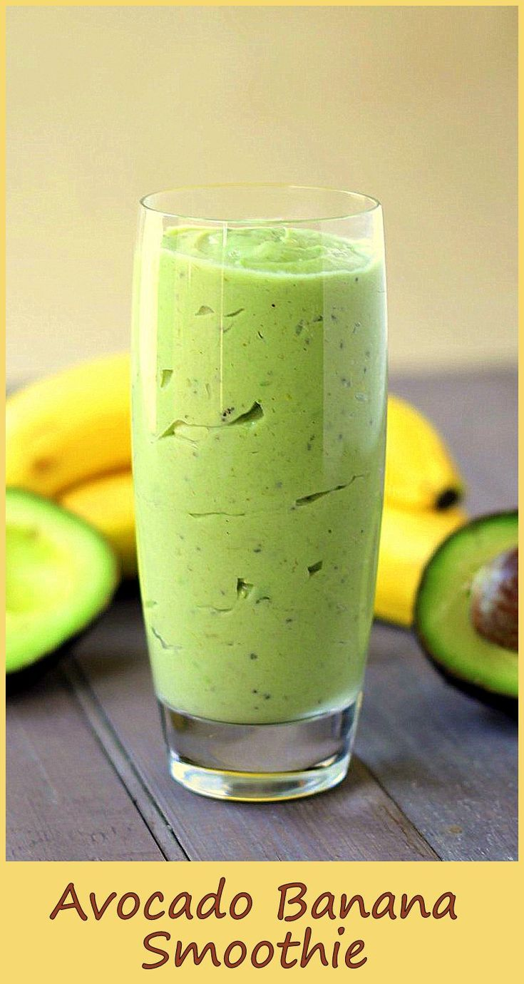Simple and light Ingredients 1 banana 1 avocado 1/2 cup of milk ice cubes 1/2 cup yogurt 2 tsp honey Preparation: combine all ingredients in a blender garnish and serve source: http://www.chelseacrockett.com/wp/lifestyle/banana-avocado-smoothie/ Related posts: Strawberry Banana Smoothie Blueberry Banana Smoothie Raspberry Mango Smoothie Banana Cookies With Chia Seeds Banana Daiquiri