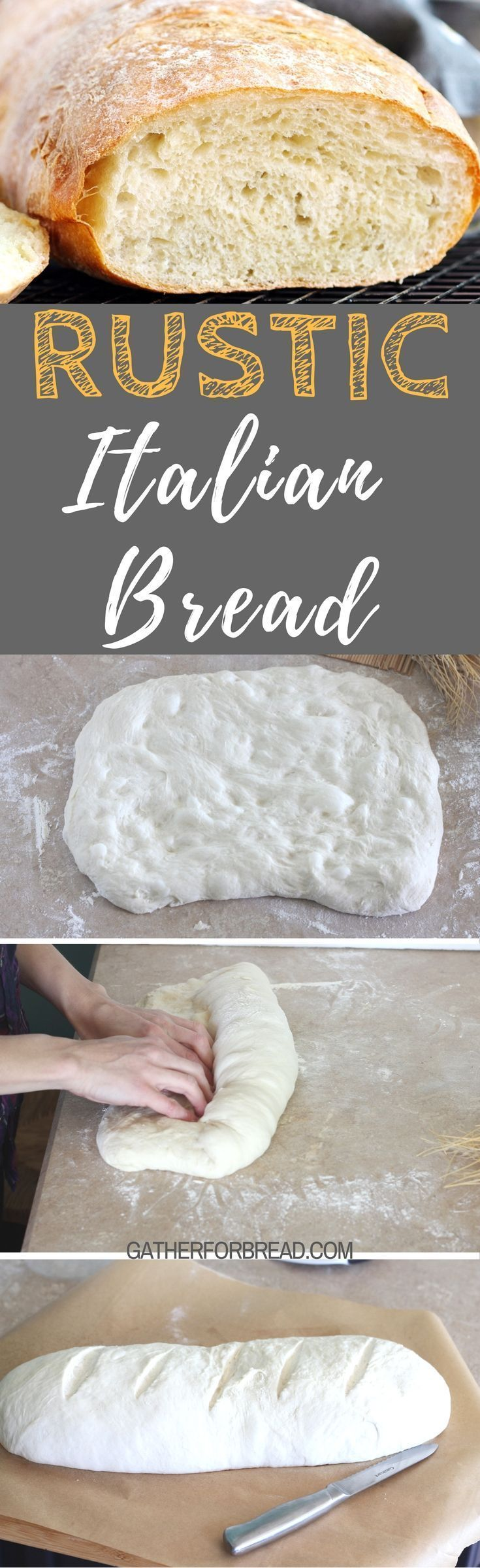 Rustic Italian Bread - How to make crusty homemade authentic Italian bread loaf . Tender crumb, crisp crust. Perfect pasta, soup and Sunday dinner.  #homemadebread #sundaydinner #Italian #bread #fromscratch