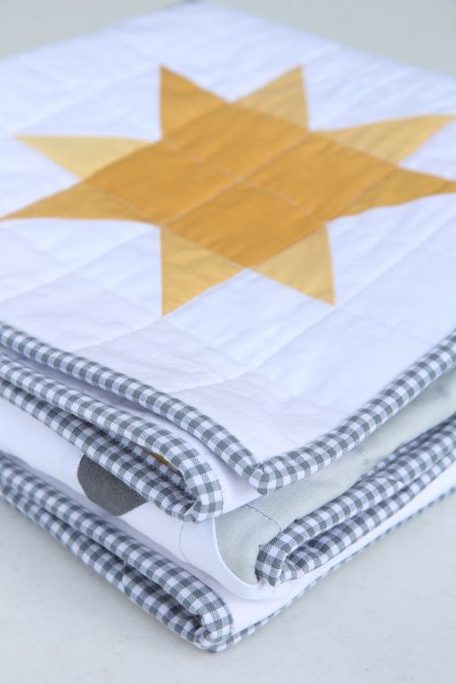 Ombre Sunshine Quilt Corners - love the gingham binding!