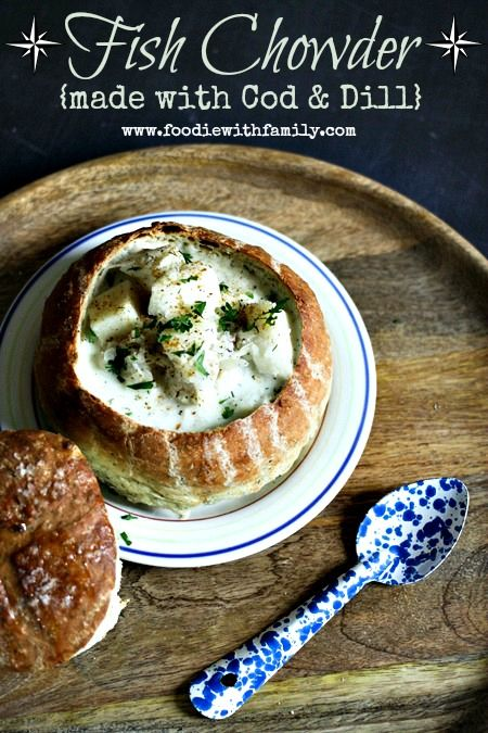 Fish chowder made with cod and dill recipe soups fish for Fish soup recipe cod