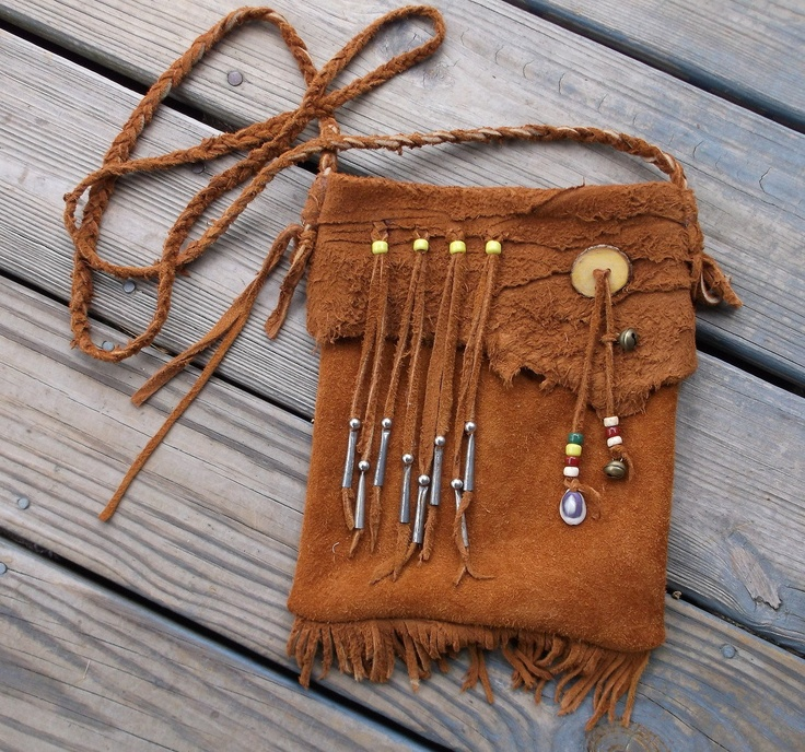 Traditional Native American Style Mountain Man Possibles Bag Or Hippie Purse made of Moose Hide. $67.00, via Etsy.