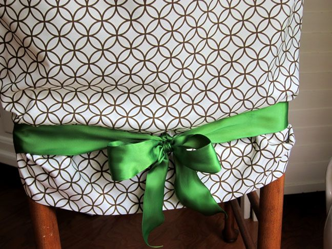 Genius--I found a great pillowcase and a darling ribbon-I am loving it-No Sew Pillow Case Chair Covers - Momtastic
