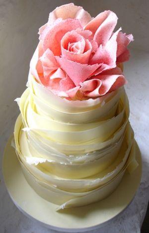 ~` pink rose . white ruffle cake `~