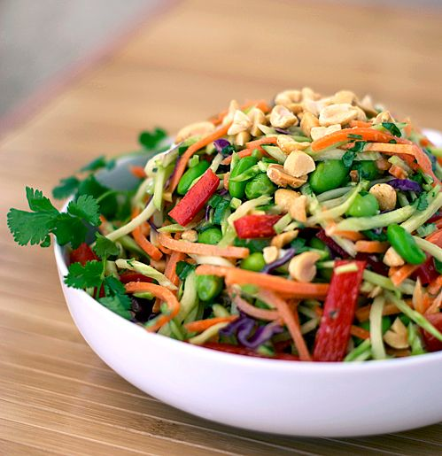 Rainbow Asian Slaw - A colorful veggie-filled slaw with a light sesame ginger dressing.