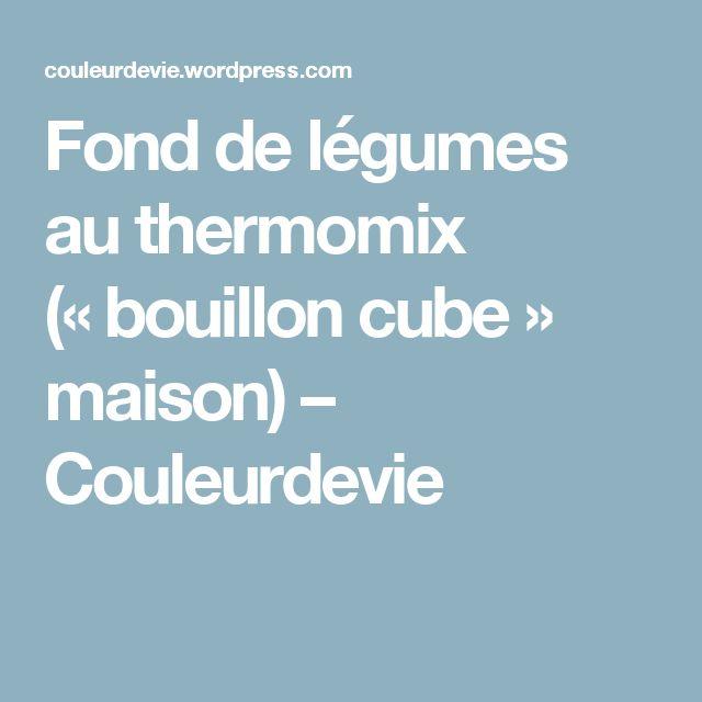 Fond de légumes au thermomix («bouillon cube» maison) – Couleurdevie